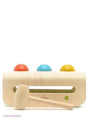 Забивалка с шарами PLAN TOYS. Цвет: бежевый