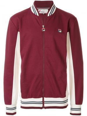 Спортивная куртка с ребристой окантовкой Fila. Цвет: красный