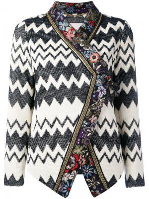 Пиджак с принтом зигзаг и цветочным узором Bazar Deluxe. Цвет: чёрный