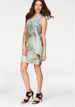 Платье VIVANCE. Цвет: серый/розовый/коричневый с рисунком