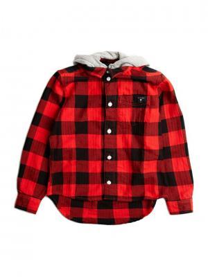 Рубашка GUESS. Цвет: красный, черный