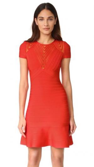 Платье с короткими рукавами Herve Leger. Цвет: алый мак