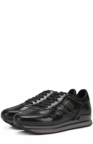 Кожаные кроссовки с тиснением Hogan. Цвет: черный
