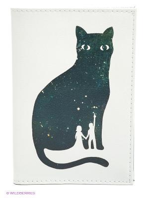 Обложка для автодокументов Космическая кошка Mitya Veselkov. Цвет: белый, черный, розовый