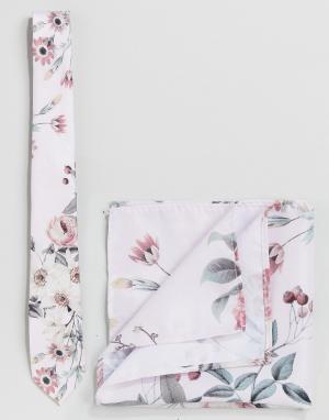 Burton Menswear Комплект из галстука и платка для нагрудного кармана с цветочным принт. Цвет: розовый