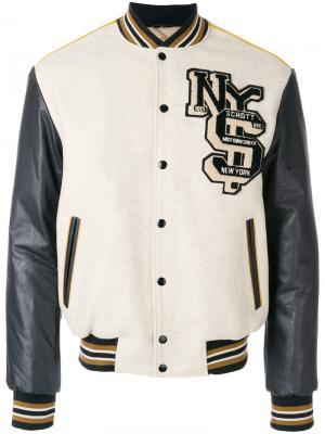Куртка-бомбер в спортивном стиле Schott. Цвет: телесный