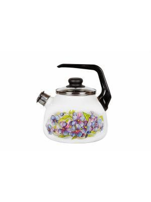 Чайник 3,0 л, со свистком,  СтальЭмаль. Цвет: лиловый