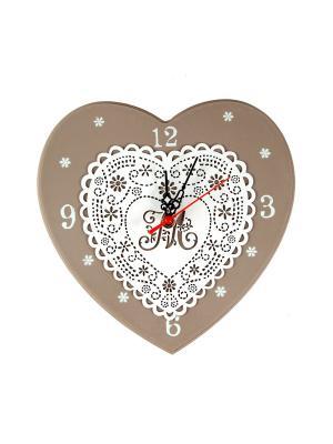 Часы настенные Кружевное сердце 30 см Русские подарки. Цвет: серо-голубой, бежевый