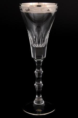 Набор бокалов для вина 240 мл Crystalite Bohemia. Цвет: прозрачный, платиновый