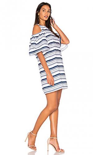 Полосатое платье из поплина BLAQUE LABEL. Цвет: белый