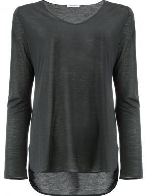 Прозрачная футболка Lamberto Losani. Цвет: чёрный