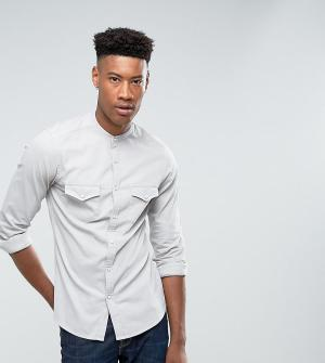 ASOS Джинсовая облегающая эластичная рубашка в стиле вестерн с воротником н. Цвет: серый