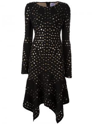 Платье с асимметричным подолом и люверсами Hervé Léger. Цвет: чёрный