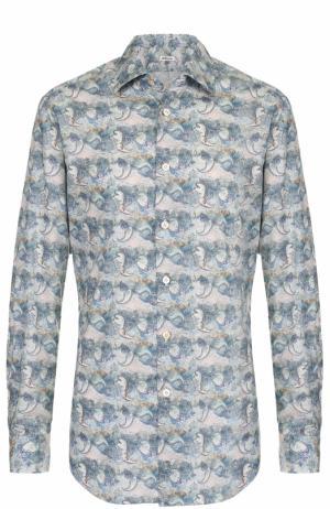 Хлопковая рубашка с принтом Kiton. Цвет: голубой