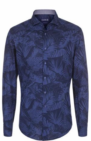 Хлопковая рубашка с принтом Jacques Britt. Цвет: темно-синий