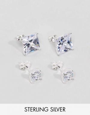 ASOS Набор серебряных сережек-гвоздиков с камнями. Цвет: серебряный