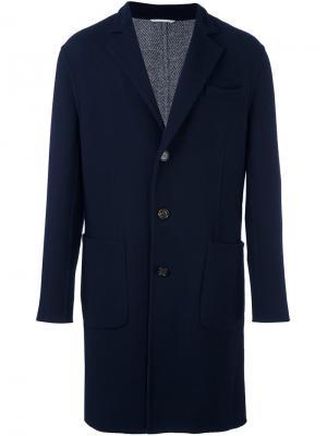Однобортное пальто Brunello Cucinelli. Цвет: синий