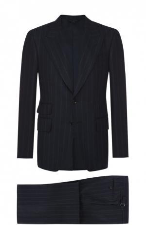 Шерстяной приталенный костюм Tom Ford. Цвет: темно-синий