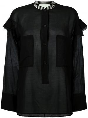 Рубашка с контрастным воротником 8pm. Цвет: чёрный