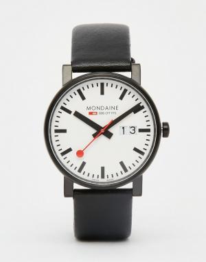 Mondaine Часы с датой и черным кожаным ремешком 40 мм. Цвет: черный