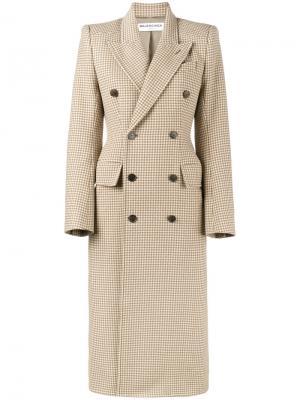 Двубортное пальто Hourglass Balenciaga. Цвет: телесный