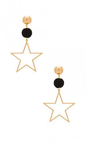 Серьги звездочка bon Ettika. Цвет: металлический золотой