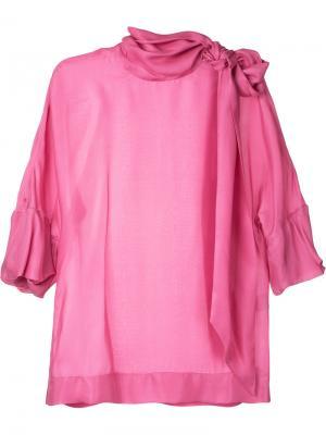Блузка с завязкой на горловине Paule Ka. Цвет: розовый и фиолетовый