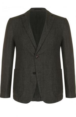 Однобортный пиджак из смеси хлопка и льна Z Zegna. Цвет: оливковый