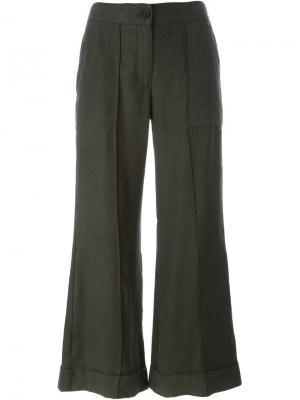 Расклешенные брюки Raquel Allegra. Цвет: зелёный