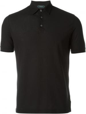 Классическая футболка-поло Zanone. Цвет: чёрный