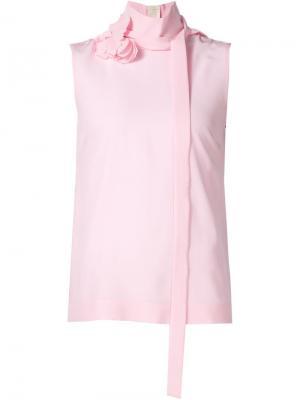 Блузка без рукавов с отделкой лентой Rochas. Цвет: розовый и фиолетовый