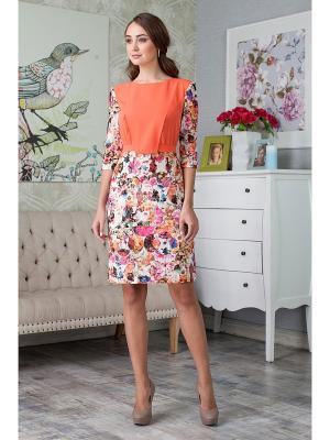 Платье KEY FASHION. Цвет: сиреневый, оранжевый, белый