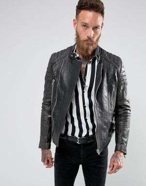 Black Dust Кожаная байкерская куртка со стегаными рукавами. Цвет: черный