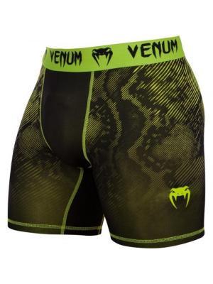 Компрессионные шорты Venum Fusion Compression Shorts - Black Yellow. Цвет: салатовый, черный