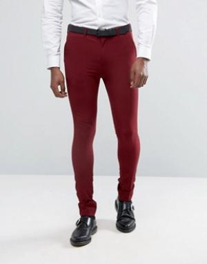 Rogues of London Супероблегающие брюки. Цвет: красный