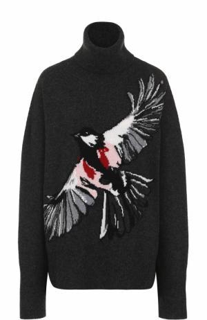 Свитер свободного кроя с принтом в виде птицы Markus Lupfer. Цвет: темно-серый