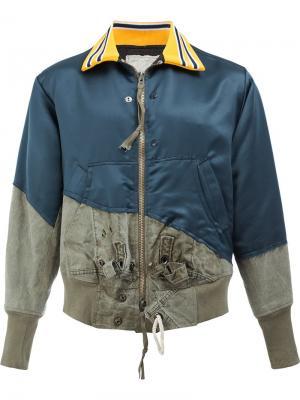 Куртка-бомбер с панельным дизайном Greg Lauren. Цвет: синий