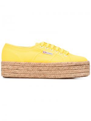 Кеды на плетеной подошве Superga. Цвет: жёлтый и оранжевый