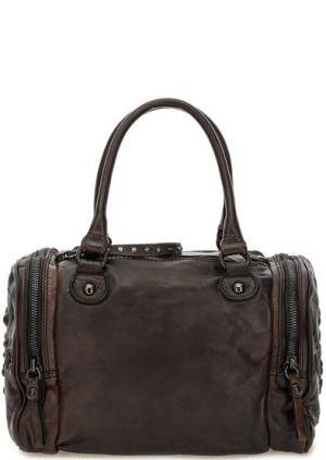 Коричневая кожаная сумка с декором Campomaggi. Цвет: коричневый