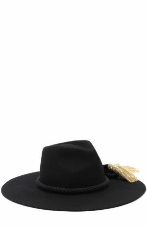Шерстяная шляпа с кистями Benoit Missolin. Цвет: черный