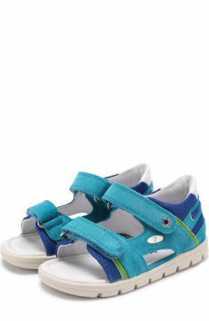Комбинированные сандалии с застежками велькро Falcotto. Цвет: голубой