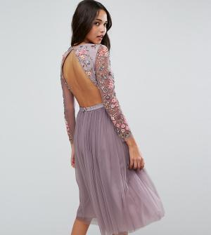 Needle & Thread Платье миди из тюля. Цвет: фиолетовый
