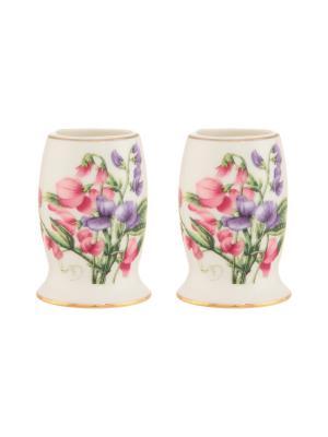 Набор из 2-х вазочек под зубочистки Душистый цветок Elan Gallery. Цвет: розовый, белый, фиолетовый