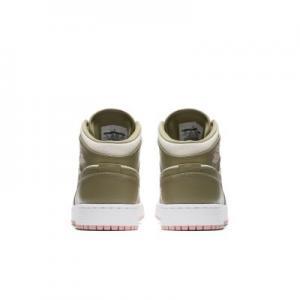 Кроссовки для школьников Air Jordan 1 Mid Nike. Цвет: оливковый