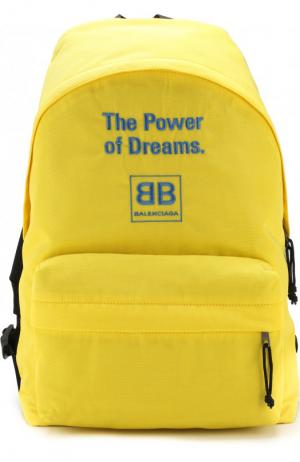 Текстильный рюкзак с принтом Balenciaga. Цвет: желтый