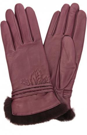 Кожаные перчатки с отделкой из меха кролика Agnelle. Цвет: фиолетовый