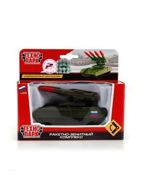 Танк Технопарк металлический, инерционный с ракетной установкой.. Цвет: зеленый, красный
