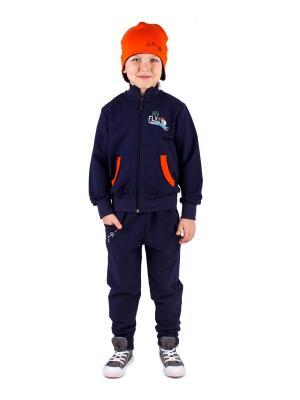 Джемпер, брюки, шапка Апрель. Цвет: синий, оранжевый