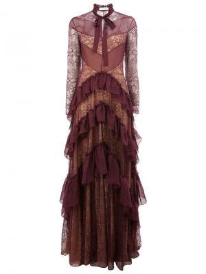Кружевное платье в пол с рюшами Zuhair Murad. Цвет: розовый и фиолетовый