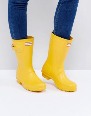 Hunter Невысокие резиновые сапоги желтого цвета Original. Цвет: черный